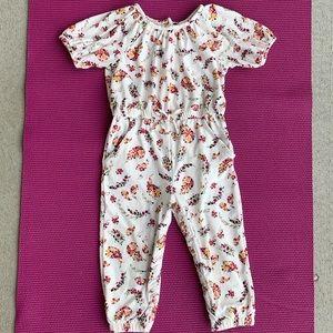 Toddler girls floral jumpsuit